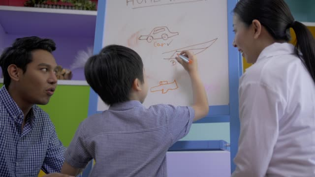 Asian family teach homework and drawing figures on white board at home,home education concept.