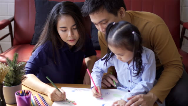 Asian family. Asian parent family with girl child and teaching child how to draw at home. thai ethnicity stock videos & royalty-free footage