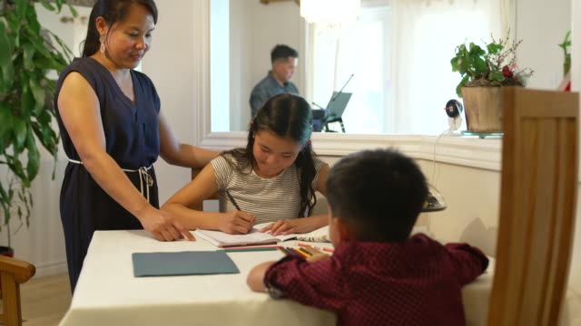 Asian family working from home during COVID-19 Young family working from home together during COVID-19, mother is helping children with school work while father works on business in another room. filipino ethnicity stock videos & royalty-free footage