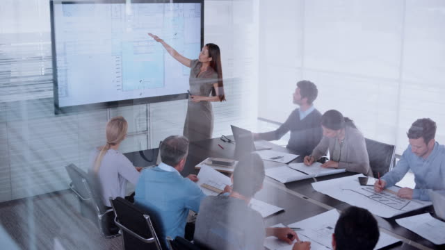asian female architect presenting plan details on the wide screen in the conference room - leanincollection stock videos & royalty-free footage