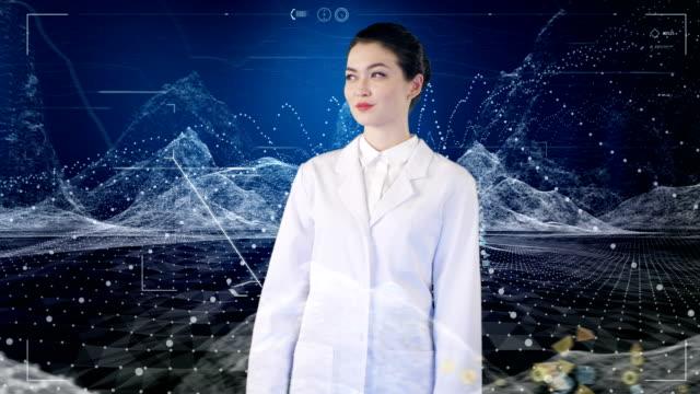 asiatische wissenschaftlerin einblick virtuelle reality.digital daten und partikel - wissenschaftlerin stock-videos und b-roll-filmmaterial