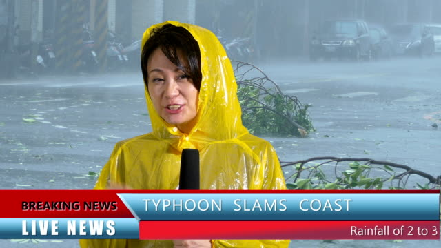 Asian female TV weather reporter reporting on typhoon video
