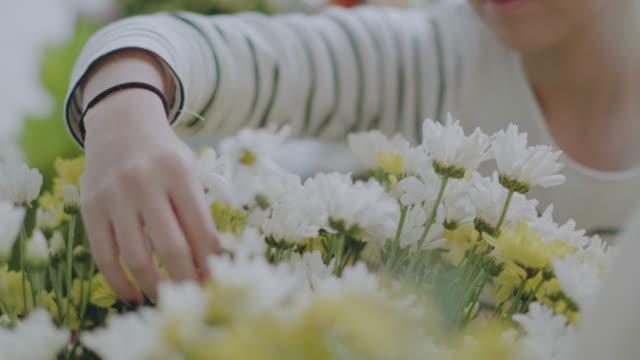 Asian Florists arranging bouquets in flower shop video
