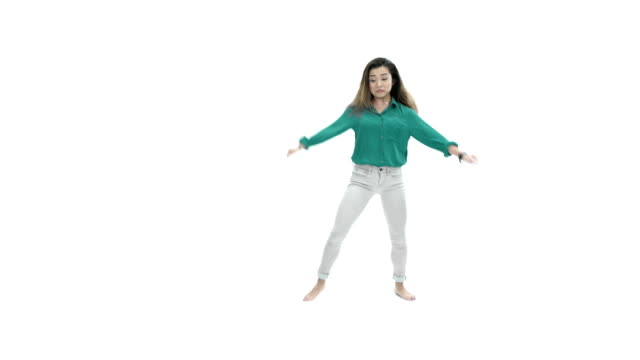 Asian Girl Dancing on White Background video