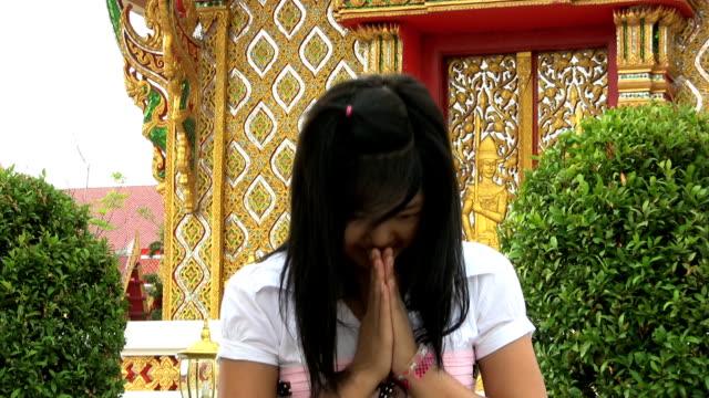 Asian Girl Doing Thai Style Greeting video