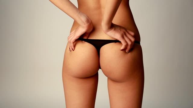 Asian girl in black panties video