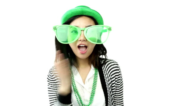 asian girl isolated ready for st patrick's day with disguise video