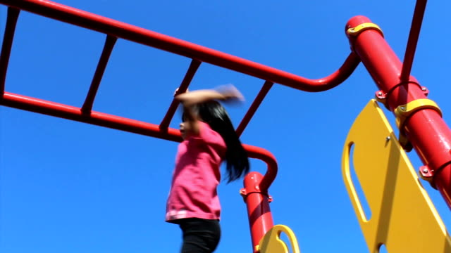 Asian Girl On Monkey Bars At Playground video