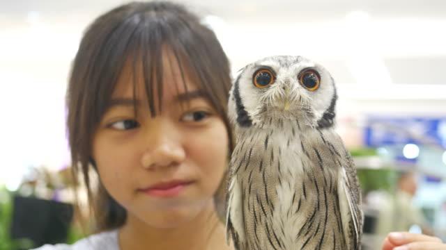 Una chica asiática con buho grande - vídeo