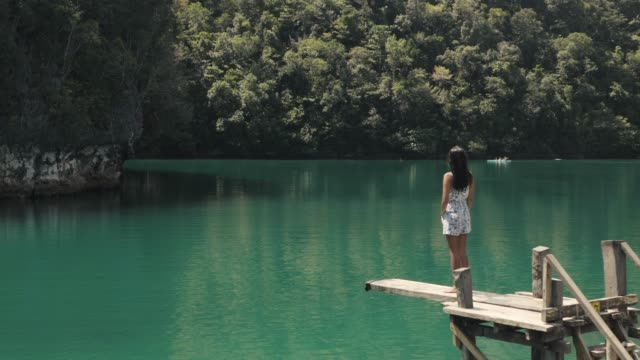 Asian girl standing on diving board watching calm nature of a lagoon. Young woman standing in a diving board facing the green forest of a lagoon. Travel and tourism concept. cliff jumping stock videos & royalty-free footage