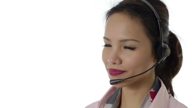 Asian girl working as call center operator Young people, work and technology, portrait of happy Asian woman working as call center operator with headphones, helpline representative, smiling. 11of16. filipino ethnicity stock videos & royalty-free footage
