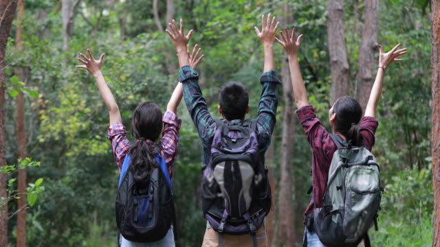 Asia grupo de jóvenes caminando con amigos mochilas caminando y mirando el mapa y tomar foto cámara por la carretera y mirando feliz, relajación tiempo en vacaciones viajes concepto - vídeo