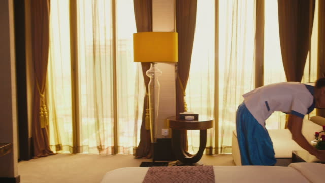 Asian house-maid cleaning hotel room, staff, woman, girl working video