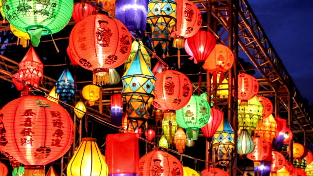 Asian faroles en el festival de las linternas Internacional - vídeo