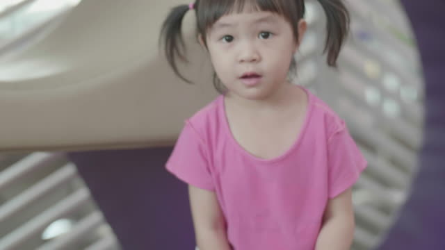 Asian Little Girl Building Wooden Blocks video