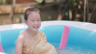 istock Asian little girl with traditional thai dress playing water gun in the water pool at summer time 1313236680