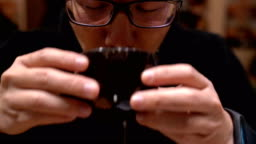 Asian Man Drinking Soup In Japanese Restaurant Stock Video - Download Video Clip Now - iStock