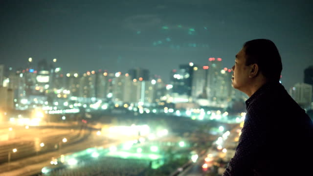 Asian Man Looking At City View Cityscape thinking stock videos & royalty-free footage