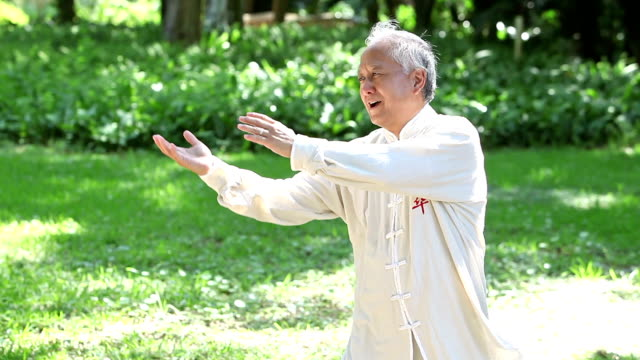 Asian man practicing tai chi