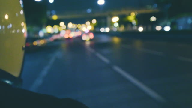 POV : Asian Man Rider Rides At Night Bokeh Shots motorcycle stock videos & royalty-free footage