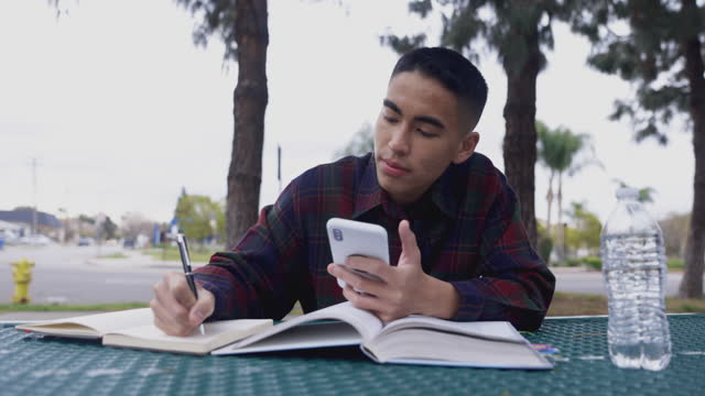 Asian Man Studying at a Picnic table A young Filipino man studying at a table outdoors filipino ethnicity stock videos & royalty-free footage