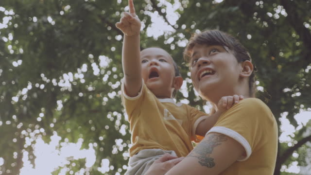 vídeos y material grabado en eventos de stock de asia madre y niño (6-11 meses) en parque - nuevo bebé