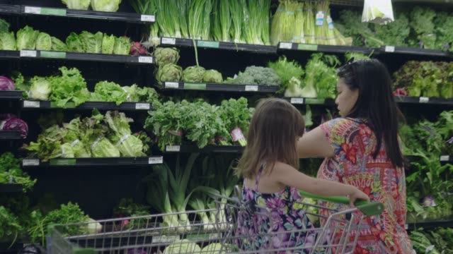 Asian mother and child shopping for groceries. Asian woman and her daughter putting vegetable into shopping cart at the fruit and vegetable aisle in a grocery store. choice stock videos & royalty-free footage