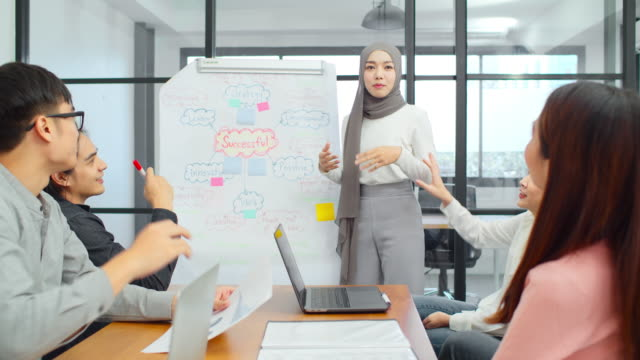 asiatisk muslimsk kvinna leder gruppen av unga asiatiska affärs kreativa team i brainstorm möte presentation. girl power, kollega medarbetare partnerskap teamwork, människor samarbete, eller idé dela koncept - hijab bildbanksvideor och videomaterial från bakom kulisserna