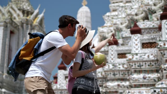 Asian or Japanese touristor visit to Thai temple(wat Aroon) by boat.