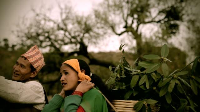 Asian people: Rural Nepali man showing something to a woman