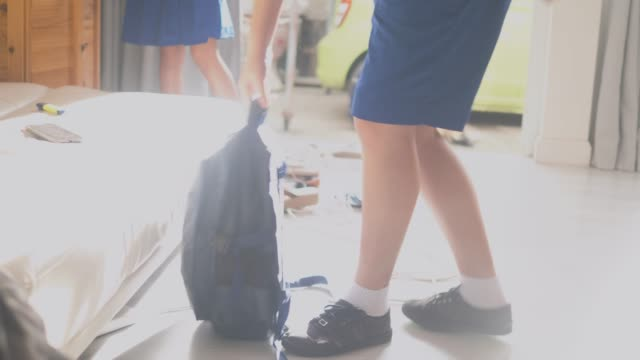 asian schoolchildren holding backpack and ready go to school. - two students together asian video stock e b–roll