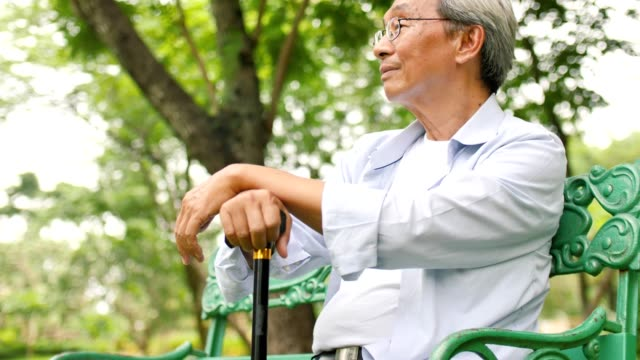 Asian senior man holding a cane and sitting on a bench in the park video