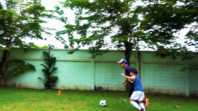 vídeos de stock e filmes b-roll de asian soccer kids prepare - campeão soccer football azul