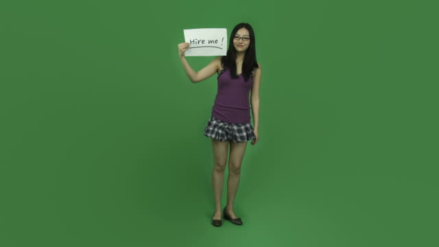 Asian student girl isolated greenscreen green background unemployed with hire video