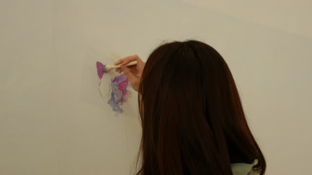 Asian teenage girl butterfly fly acrylic painting on white wall for LGBTQI concept