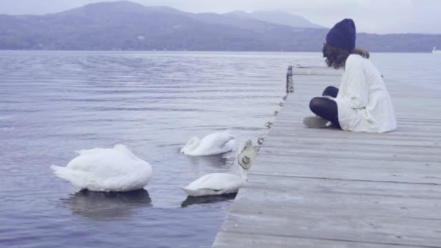 Asian tourist woman sitting with swan at Lake Kawaguchi