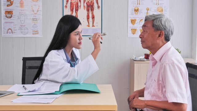 Asian woman doctors examine patients eyes to a senior inspector of the hospital room, Senior Asian man to get a health check by medical professionals.