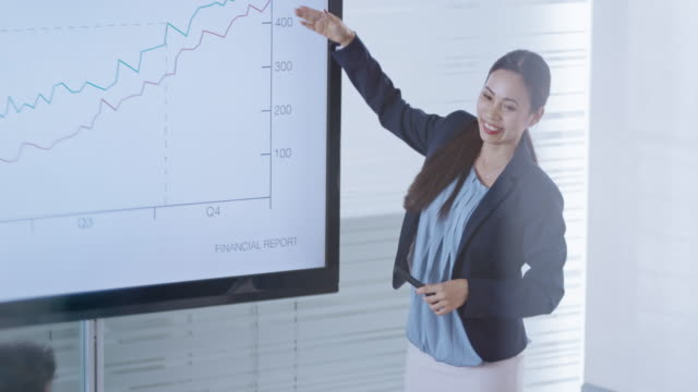 asian woman ending the financial presentation in the conference room and her colleague are applauding - leanincollection stock videos & royalty-free footage