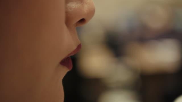 Asian woman enjoy drinking tea various shot video