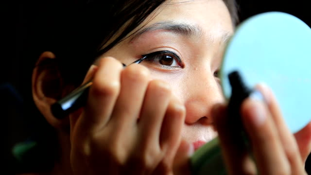 Asian woman eye make up Asian woman eye make up, close up. eyeliner stock videos & royalty-free footage