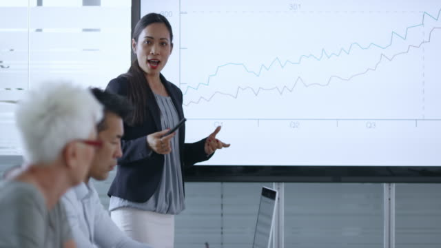 Asian woman giving a detailed financial presentation to colleagues in the meeting room video