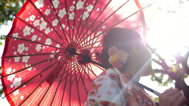 asian woman in traditional kimono - tradycja filmów i materiałów b-roll