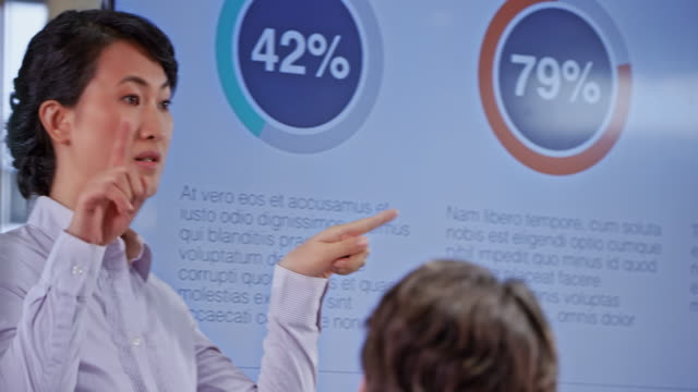 Asian woman pointing on the values on the display in the conference room during her presentation