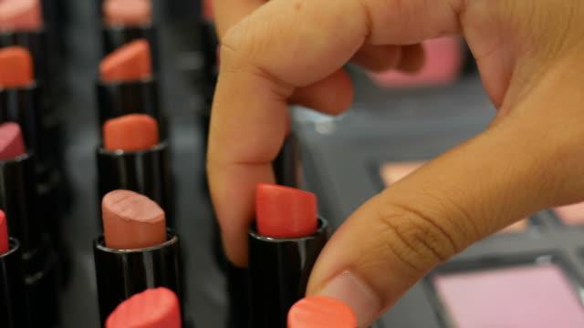 Asian woman shopping Lipstick Asian woman shopping Lipstick  , close up lipstick stock videos & royalty-free footage