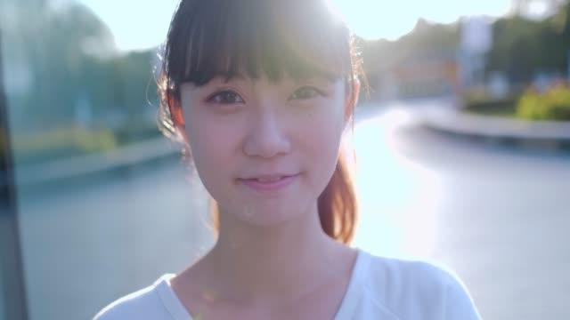 Asian woman smile take selfie
