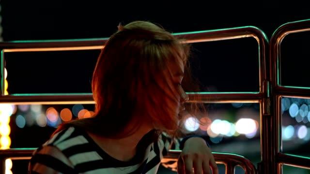 vídeos de stock e filmes b-roll de asian woman travel amusement park carnival enjoy beautiful view on ferris wheels. - gmail