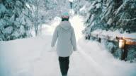 istock asian woman walking snowy forest 1199825289