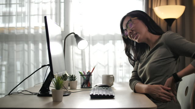 Asian women with back pain sin an Office syndrome and working hard Asia, Japan, UK, USA,4K Resolution, Adult,Computer,Technology neck stock videos & royalty-free footage