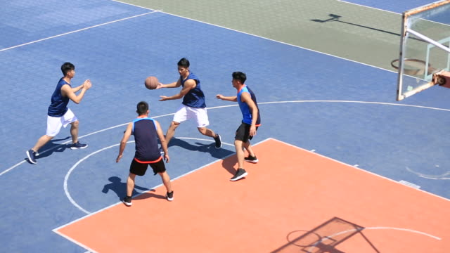asian young adults playing basketball on outdoor court