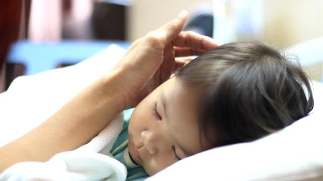 asleep little girl sick in the hospital video